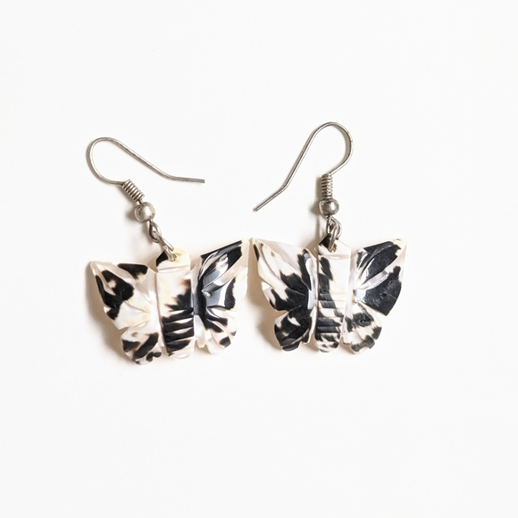 Vintage Black and White Butterfly Earrings